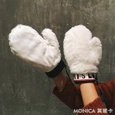 時尚韓版絨質連指手套女秋冬可愛學生萌掛脖保暖加絨加厚騎車 莫妮卡小屋