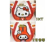 日本原裝 HELLO KITTY 凱蒂貓-帆布手提包/托特包(KITTY美樂蒂款)