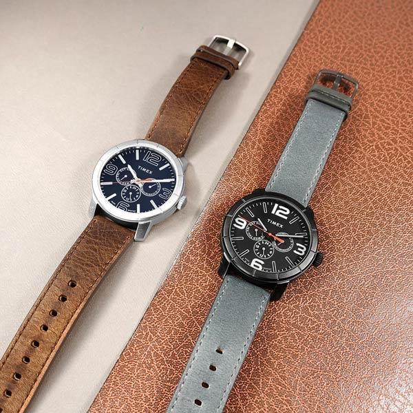 TIMEX 天美時 / TXTW2U15300 / 經典系列 三眼三針 星期日期 礦石強化玻璃 真皮手錶 藏青x銀框x咖啡 44mm
