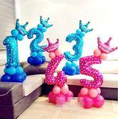 寶寶滿月布置兒童周歲生日派對裝飾數字鋁膜氣球立柱套餐【步行者戶外生活館】
