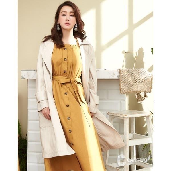 【南紡購物中心】CANTWO法式雙排緹織風衣外套-卡色