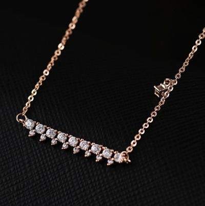 項鍊 玫瑰金 鑲鑽純銀吊墜-優雅氣質生日情人節禮物女飾品73dw68【時尚巴黎】