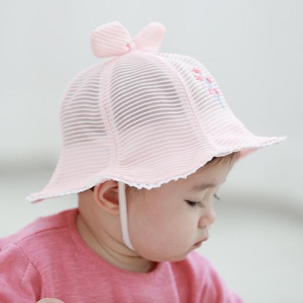 全館83折 夏季男女寶寶帽子網紗薄款盆帽3-6-12個月嬰兒漁夫帽防曬遮陽帽夏