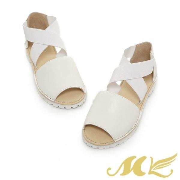 【MK】台灣製真皮系列-韓系鬆緊交叉設計平底涼鞋-白色