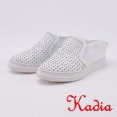 kadia.小牛皮編織休閒厚底拖鞋(0008-10白色)