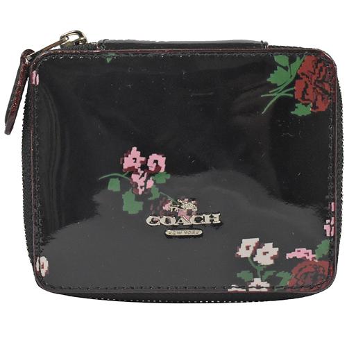 茱麗葉精品【現貨出清】COACH 25794 馬車LOGO 花卉漆皮萬用飾品盒.黑