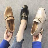 粗跟鞋 涼鞋黑色小皮鞋單鞋方頭一腳蹬粗跟職業高跟鞋復古英倫-新主流