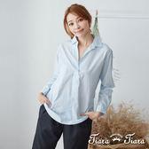 【Tiara Tiara】 都會風純棉半開襟襯衫(淺藍/藍格紋/黑格紋)