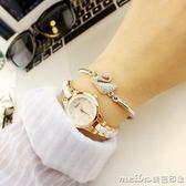 手錶女學生韓版簡約休閒大氣時尚潮流復古手鍊錶女士防水石英女錶igo 美芭