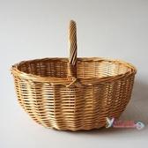 竹編野餐籃 柳編藤編竹編手提籃子收納籃購物籃菜籃子編織花籃大號田園野餐籃T