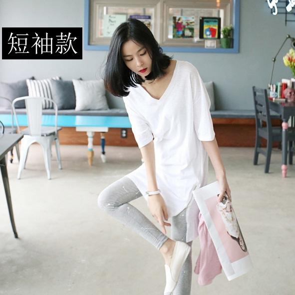 短袖T恤 中長款T恤女寬松顯瘦2021春季女裝韓版長袖上衣百搭純棉V領打底衫 快速出貨