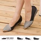 [Here Shoes]3色 搶眼金屬 華麗金蔥拼接皮革 坡跟楔型增高 尖頭鞋頭 ◆MIT台灣製─KTDP3130