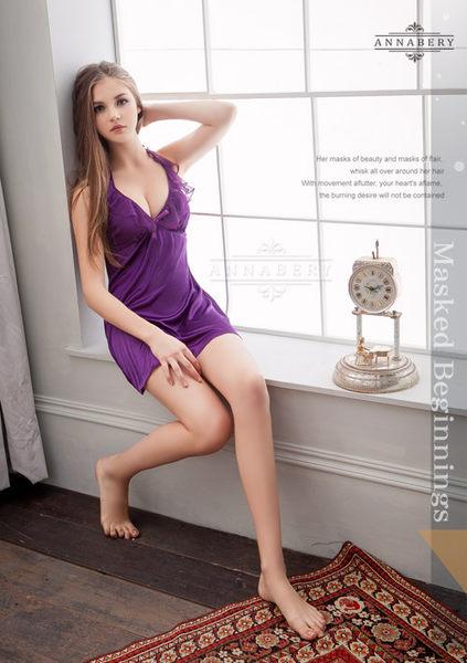 大尺碼Annabery深V荷葉領深紫柔緞睡衣  (OS小舖)