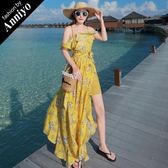 Anniyo安妞‧波希米亞細肩帶兩穿開叉修身顯瘦印花海邊度假沙灘裙長裙長洋裝 黃底碎花