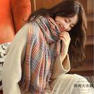 格子圍巾女秋冬韓版百搭加厚保暖可愛披肩兩用【時尚大衣櫥】