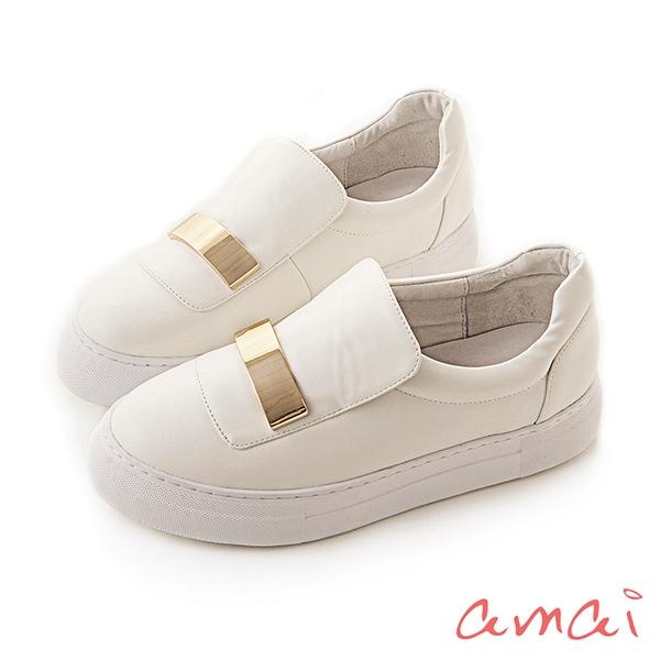 amai一字金屬個性厚底休閒鞋 白