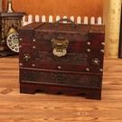 古風仿古木質復古梳妝盒帶鎖家用ins風小首飾盒子高檔飾品收納盒 小時光生活館