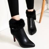 特賣高筒高跟鞋漂亮高跟鞋女秋冬年新款高筒毛毛鞋加絨棉鞋細跟靴子兔毛短靴