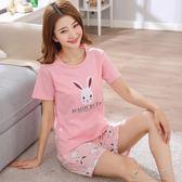 韓版純棉睡衣女夏季短袖短褲兩件套裝全棉女士甜美可愛學生家居服     俏女孩