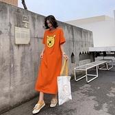圓領洋裝休閒長裙開叉中大尺碼L-3XL/加長款寬鬆印花背後短袖連身裙景F5-6126.胖胖美依