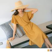 純色V領挖背收腰綁帶波浪袖長洋裝 OrangeBear《AB15948》