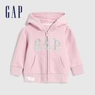 Gap女幼童 Logo基本款休閒連帽外套 619618-淡粉色