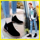 春秋新款馬丁靴女韓版學生復古短靴圓頭粗跟厚底磨砂單靴潮