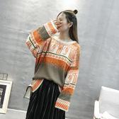 針織衫-圓領秋冬時尚寬鬆休閒女毛衣2色73tp48【巴黎精品】
