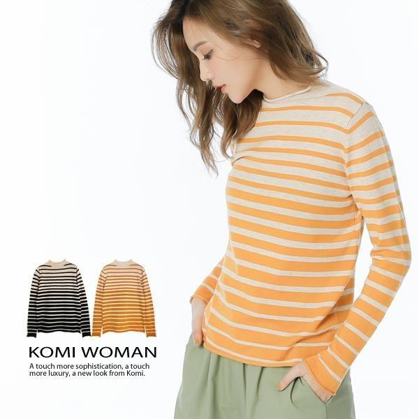 【南紡購物中心】KOMI-花紗配色條紋小立領針織毛衣‧二色