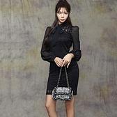 歐媛韓版 蕾絲小黑裙性感包臀洋裝 修身假兩件拼接雪紡長袖包臀 氣質連身裙女神範