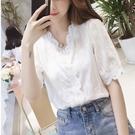 2021夏裝新款蕾絲雪紡襯衫女設計感小眾心機上衣短袖洋氣小衫仙潮 【端午節特惠】