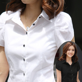 職業裝女夏大尺碼韓版修身OL胖mm工裝雪紡短袖襯衫女黑白2020荷葉袖