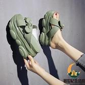 拖鞋女外穿時尚夏季蝴蝶結增高厚底松糕涼拖【創世紀生活館】