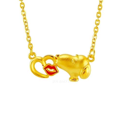 史努比SNOOPY-親親甜心-黃金項鍊