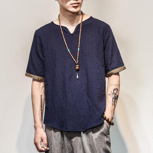 夏季男士薄款仿棉麻T恤中國風仿亞麻T恤夏裝清涼透氣中式上衣男裝