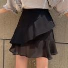 魚尾裙 正韓鬆緊高腰顯瘦雪紡半身裙大碼魚尾裙女a字百褶短裙-Ballet朵朵