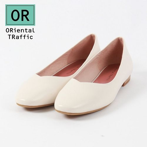 【ORiental TRaffic】舒適V口方頭平底鞋-簡約米