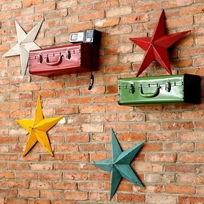 壁掛擺飾-美式做舊鐵皮創意居家掛飾擺件用品(小星星款)5色73a9【時尚巴黎】