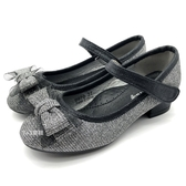 《7+1童鞋》普萊米 Private 細緻亮粉  蝴蝶結 微跟 娃娃鞋 公主鞋 D673 黑色