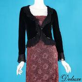 【Deluxe】歐系典雅閃耀雪紡拼接絨布長袖外套(黑)
