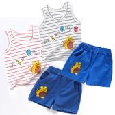 嬰兒短袖套裝 條紋無袖背心+短褲 老鼠123 寶寶童裝 YN4648 好娃娃