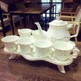 歐式骨瓷咖啡杯套裝英式高檔下午茶茶具創意陶瓷杯簡約家用花茶杯wy 【快速出貨八折免運】