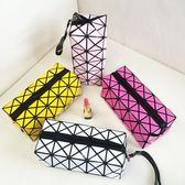 便攜化妝包手拿小號大容量隨身幾何菱格手包式收納袋