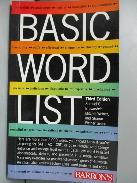 【書寶二手書T3/語言學習_JLR】Basic Word List