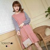 東京著衣-輕甜條紋拼接魚尾裙洋裝-S.M(180297)