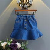 2018新款夏裝純色牛仔短裙 女童百搭半身裙子 童裝短裙半身裙熱賣禮物限時八九折