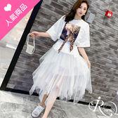 韓系豹紋領巾圓領人像圖案七分袖上衣+紗裙套裝/2色/SMLXL (RL0064-5101) iRurus 路絲時尚