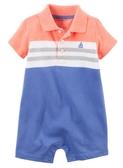 Carter's 連身衣 包屁衣  藍橘色色塊圖案短袖連身衣 6M