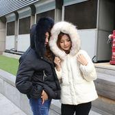 梨卡 -【韓國製】正韓國空運大毛領真毛短版雪地內鋪羽絨保暖防風抽繩縮腰外套風衣短大衣AR065