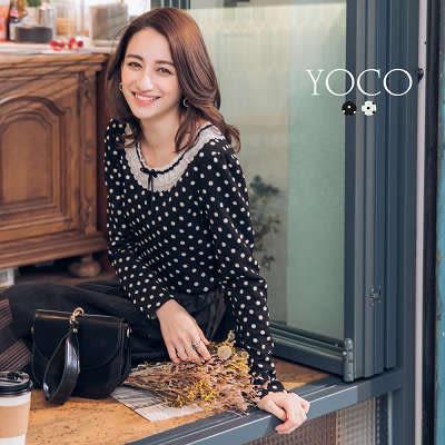 東京著衣【YOCO】俏甜女孩蕾絲領蝴蝶結點點上衣-S.M.L(172701)